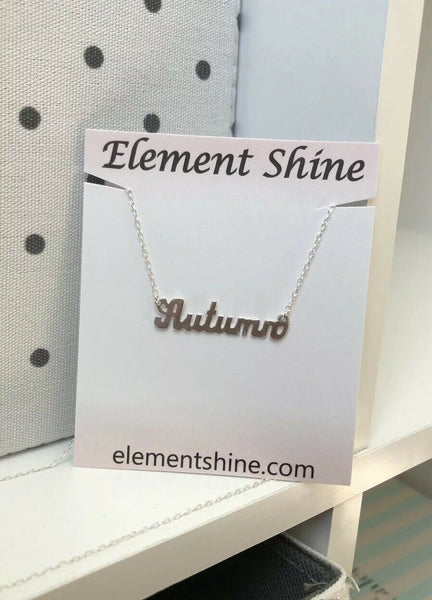 "NWT Personalized Sterling Silver Cut Out Name Plate Necklace - Autumn 18"" adjust"