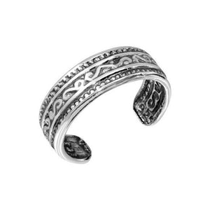 NWT Sterling Silver 925 Oxidized Wave Pattern Toe Ring Adjustable Finger Ring