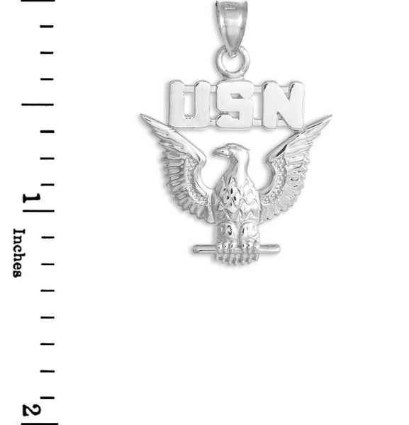 "925 Sterling Silver US Navy Eagle Detail Pendant Necklace Polished 16""-22"""