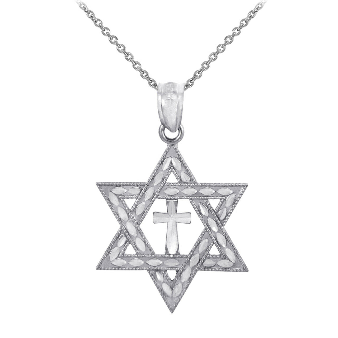 Fine Sterling Silver Jewish Charm/Pendant Necklace- Silver Star Cross of David
