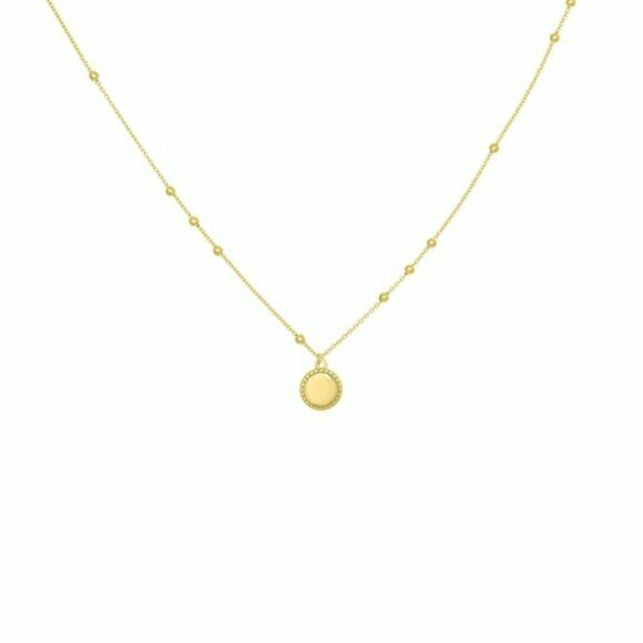 "14K Solid Yellow Gold Bead Frame Disk Adjustable Necklace 16""-18"""