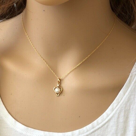 "14K Solid Gold Small Pearl Heart Pendant Dainty Necklace 16""-18"" adjustable"