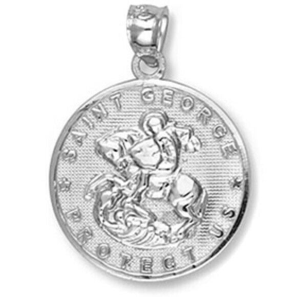 Fine Sterling Silver Saint Michael Protect Us Coin Pendant Necklace Made in USA