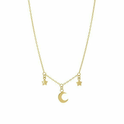 "14K Solid Yellow Gold Dangle Half Moon and Star Necklace 16""-18"" adjustable"
