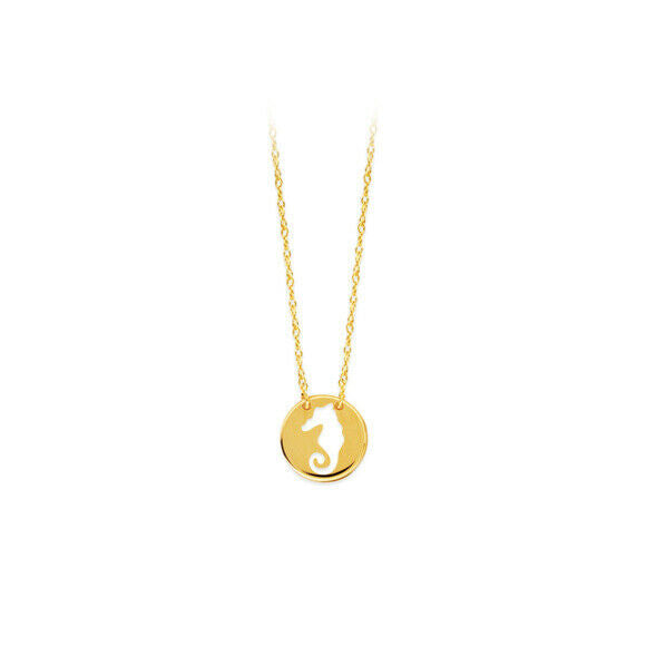 14K Solid Yellow Gold Mini Disk Cutout Seahorse Dainty Necklace - Minimalist