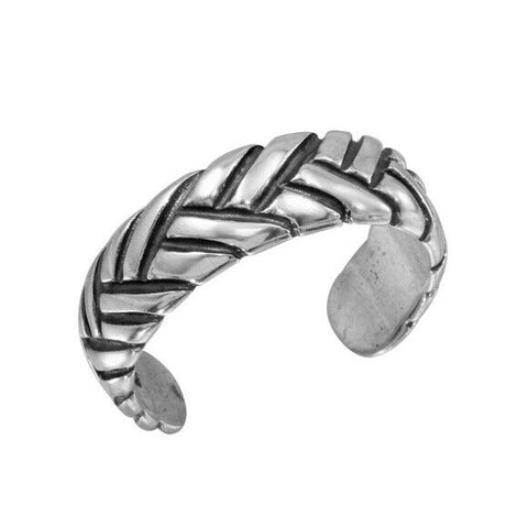 925 Sterling Silver Braided Adjustable Oxidized Toe Ring / Finger Ring