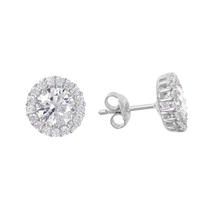 NWT Sterling Silver 925 Rhodium Plated Round CZ Halo Stud Earrings