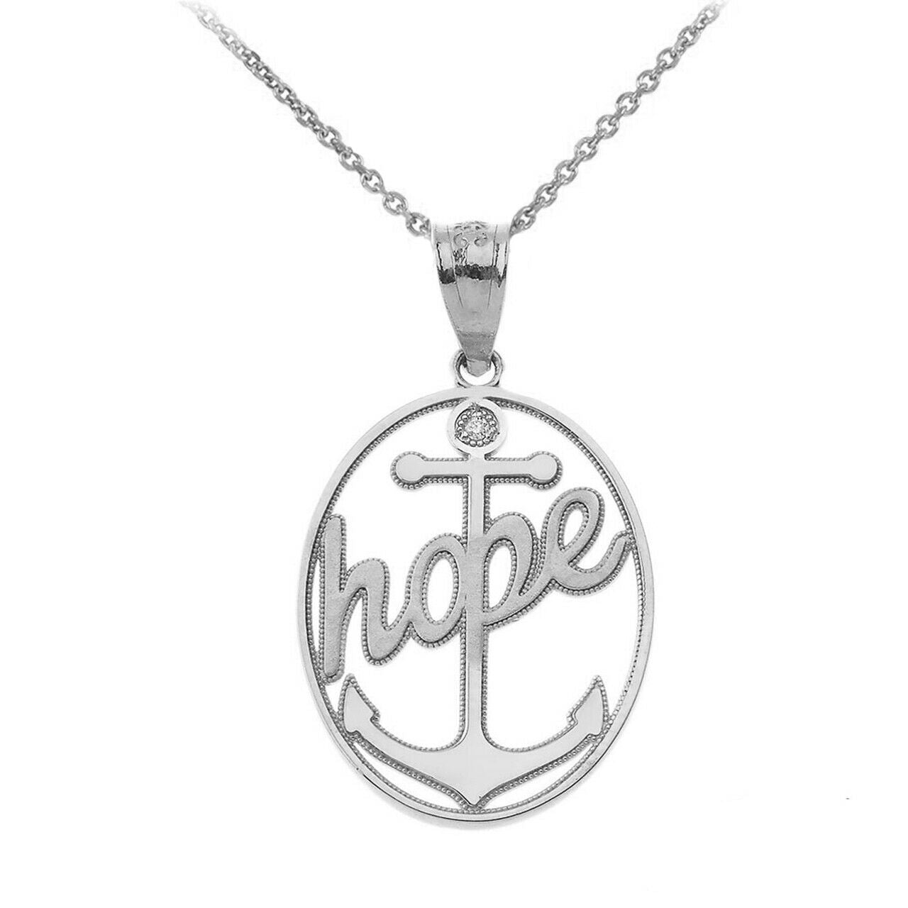 "925 Sterling Silver Hope CZ Anchor Openwork Oval Pendant Necklace 16"" 18"" 20"" 22"