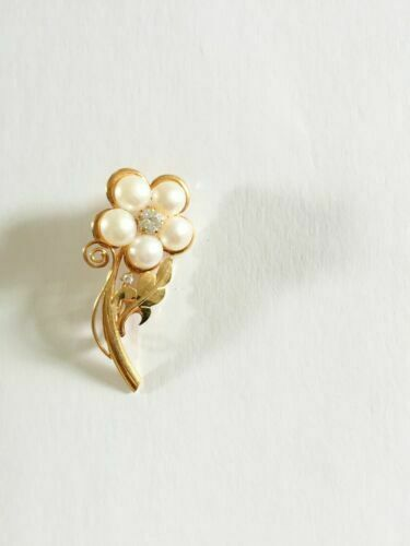 NWOT 14K Solid Yellow Gold Flower Fresh Water Pearl Brooch Pin