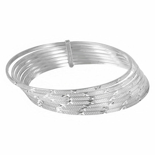 NWT Fine Sterling Silver Diamond Cut Semanario Bangle Bracelet 60, 65, 70 mm-135