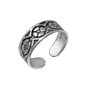Real 925 Sterling Silver Flower Link Adjustable Toe Finger Ring Oxidized