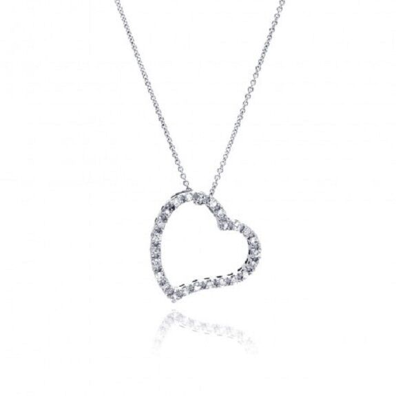 "925 Sterling Silver Clear Rhodium Plated Heart Necklace 16""-18"" adjustable"