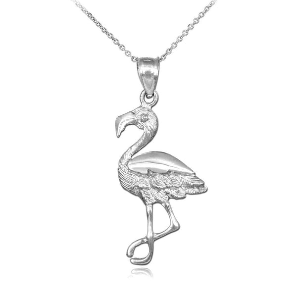 "925 Sterling Silver Flamingo Pendant Necklace Charm Made in US 16"" 18"" 20"" 22"""