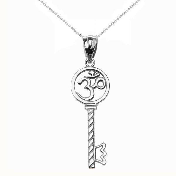 925 Sterling Silver OM (OHM) Symbol Key Pendant Necklace Made in US Medallion