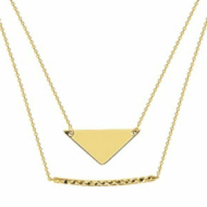 "14K Solid Gold Duo Layer Stability and Strength Necklace -16""-18"" Adjust Yellow"