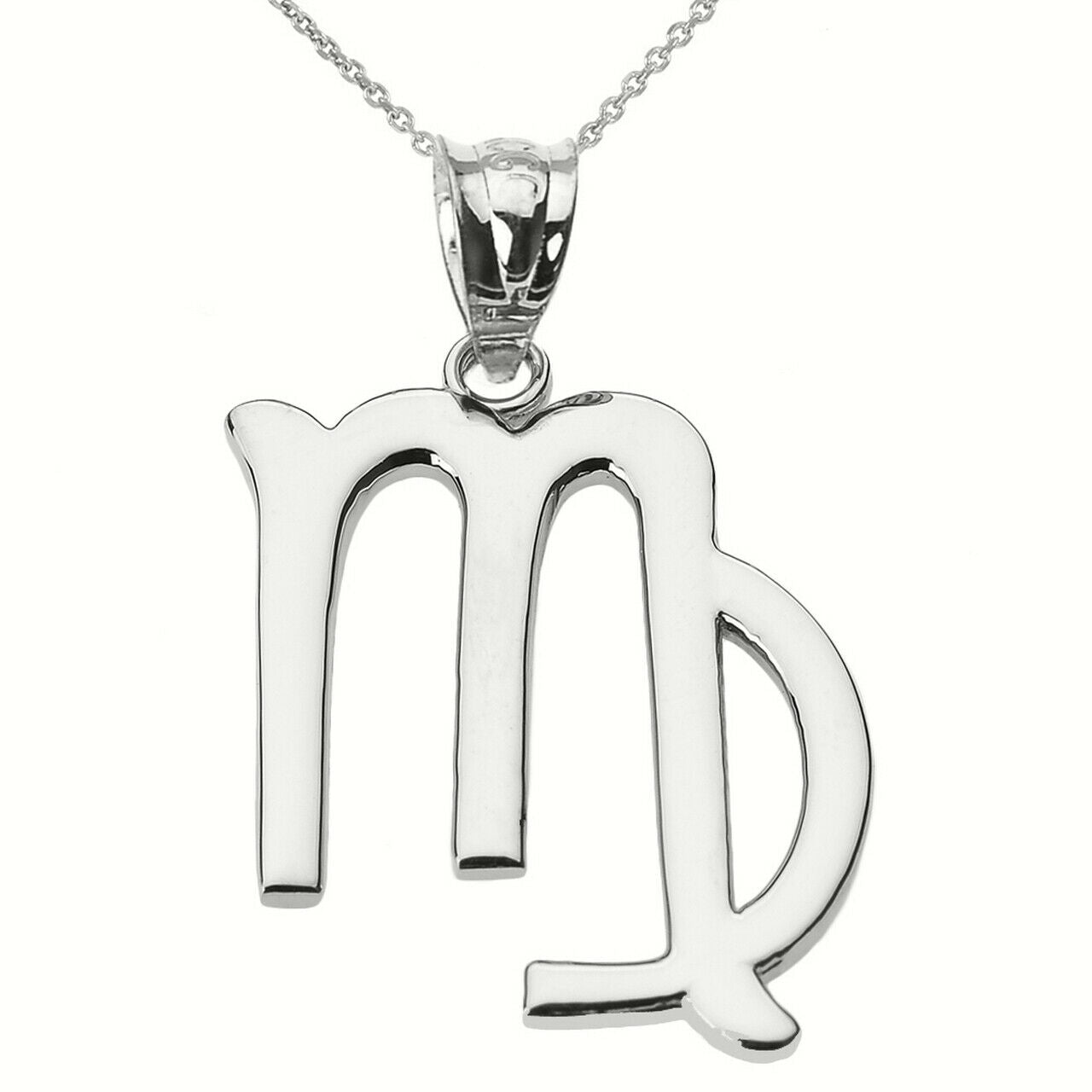 925 Sterling Silver Virgo September Zodiac Sign Pendant Necklace Made in US