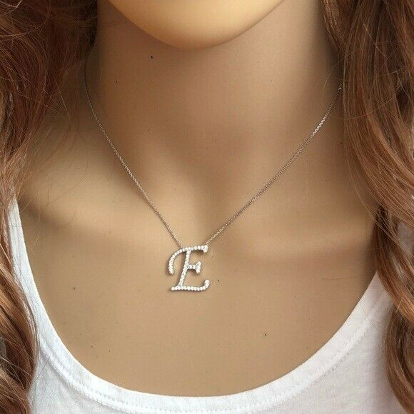 "925 Sterling Silver CZ Initial Letter I Necklace Adjustable 16""-18"" All Letter"