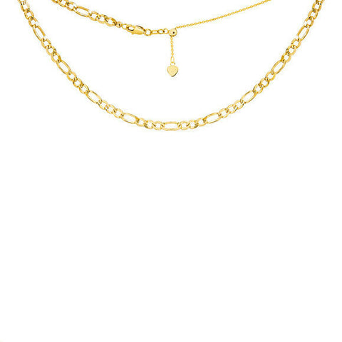 "14K Solid Yellow Gold Figaro Chain 2.5 mml Choker Necklace 16"" Adjustable"