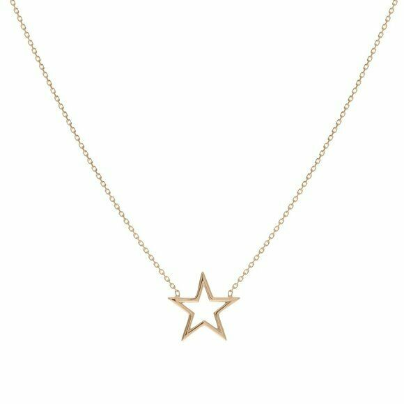 "14K Solid Yellow Gold Mini Star Cut Out Necklace 16""-18"" adjustable -Minimalist"