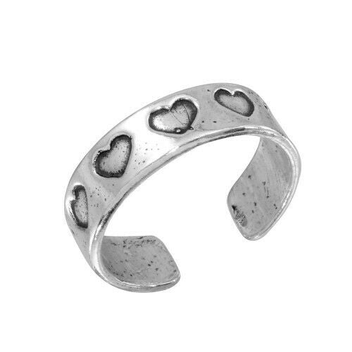 Fine Sterling Silver 925 Heart Oxidized Adjustable Toe Ring or Finger Ring