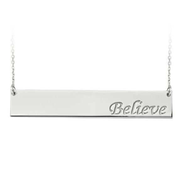 "925 Sterling Silver Engraved Geometric Bar Believe Adjustable Necklace 16""-18"""