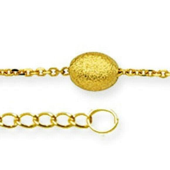 "14K Solid Gold Coffee Bean Anklet -Yellow 9""-10"" inches Adjustable -Minimalist"