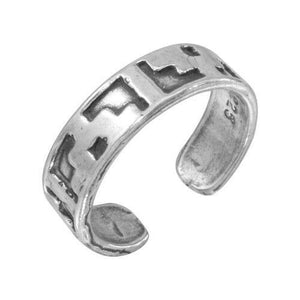 NWT Sterling Silver 925 Block Design Toe Ring / Finger Ring Adjustable Oxidized