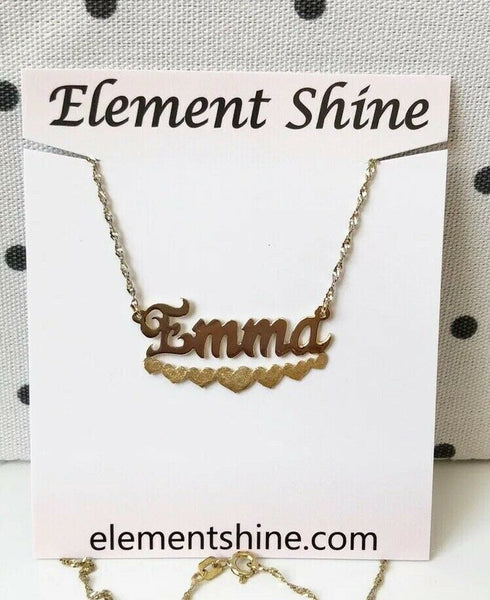 NWT Personalized Gold over Sterling Silver Name Plate Heart Necklace - Emma 18""