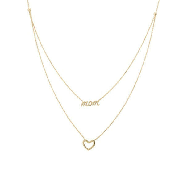 "14K Solid Gold Duo Layer Mom Script Heart Cut Out Necklace 16""-18"" Adjustable"