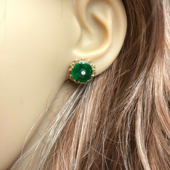 14K Solid Yellow Gold Round Green Jade Stud Earrings - E111