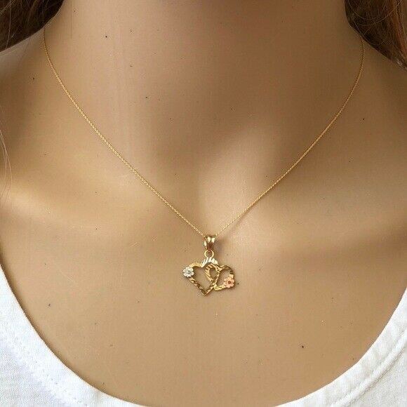"14K Solid Gold Double Heart Flower Pendant Dainty Necklace -Minimalist 16""-18"""