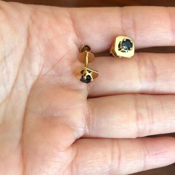 14K Solid Yellow Gold Mini Screw Back Natural Sapphire Earrings