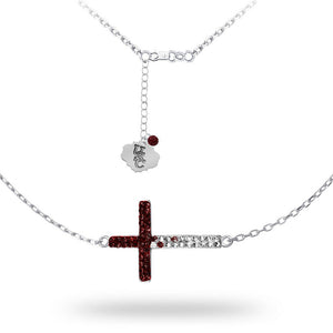 University of South Carolina Sideways Cross Necklace - Silver Licensed UofSC