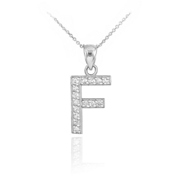 "925 Sterling Silver Letter ""F"" Initial CZ Monogram Pendant Necklace 16 18 20 22"""