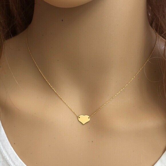 "14K Solid Gold Mini Heart Dainty Necklace - Minimalist Yellow Adjust 16""-18"""