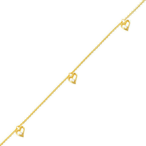 "14K Solid Gold Heart Dangle Chain Anklet - Yellow 10"" inches"