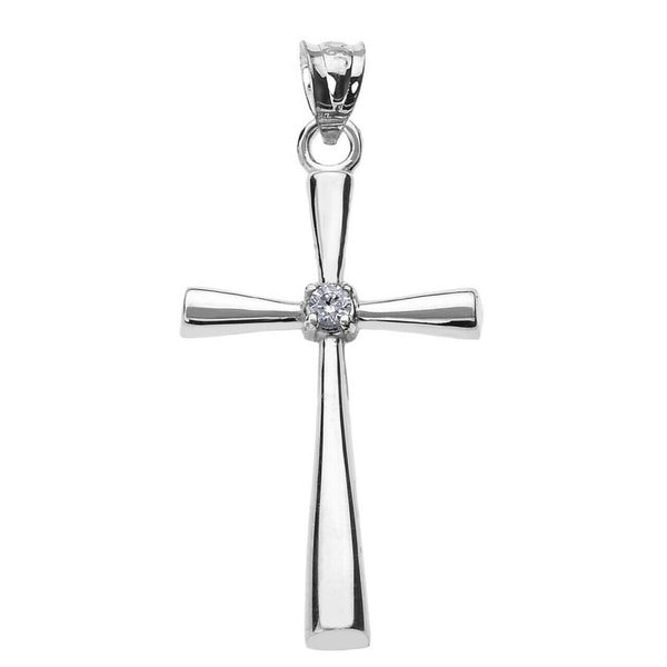 "925 Sterling Silver Solitaire Diamond Cross Pendant Necklace -16"", 18"", 20"", 22"""