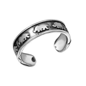 925 Sterling Silver Elephant Adjustable Toe Ring /Finger Thumb Ring Oxidized