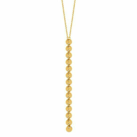 14K Solid Yellow Gold Dangle Drop 4mm Baby Disk Y Adjustable Necklace