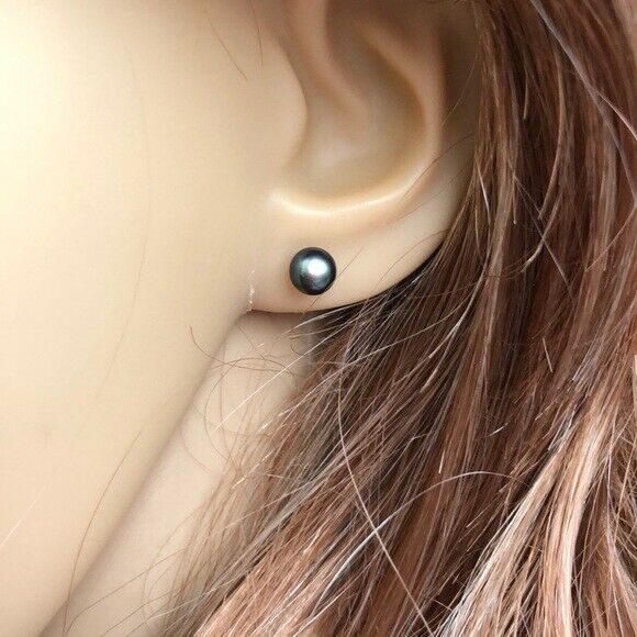 Small 14K Yellow Gold FreshWater Black Pearl Stud Earrings