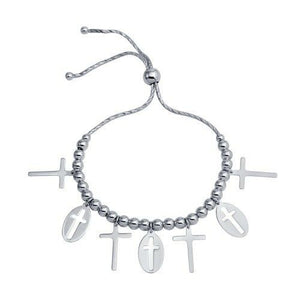 "Sterling Silver 925 Rhodium Plated Cross Charms Lariat Bracelet 8"" adjustable"