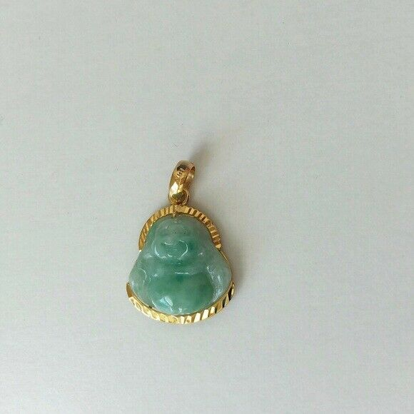 14K Solid Gold Happy Laughing Buddha Natural Green Real Jade Pendant -501