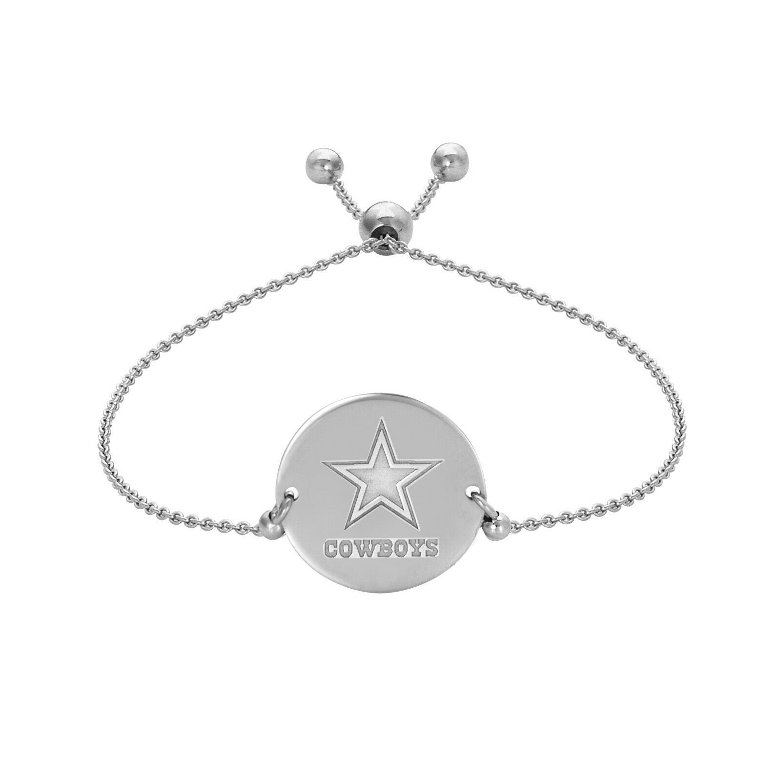 Dallas Cowboys Engraved Disk /Disc Silver Bracelet - Officially Licensed NFL
