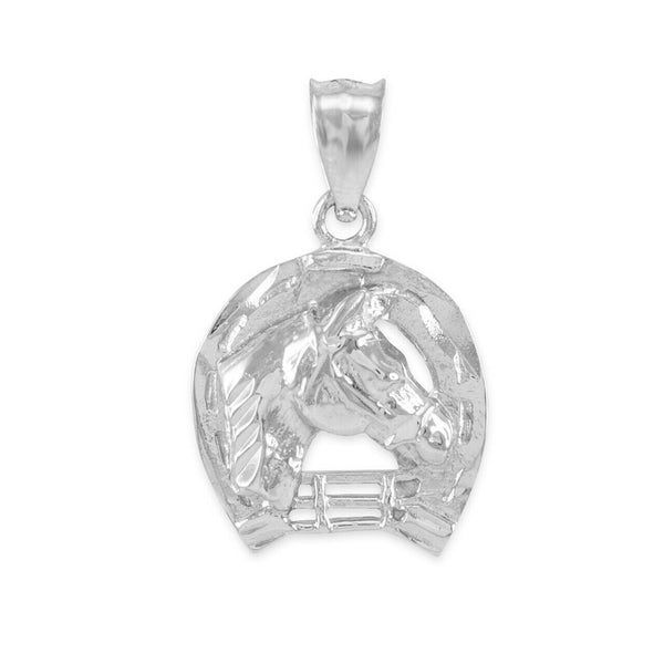 925 Sterling Silver Horseshoe with Horse Head Charm Pendant Necklace Made in US
