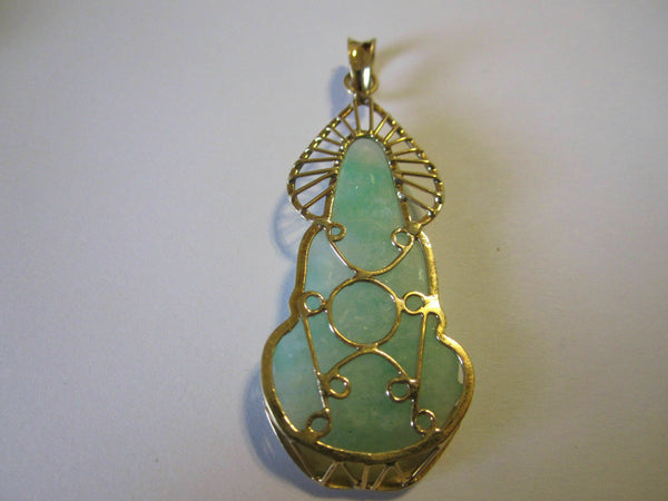 14K Solid Yellow Gold Lady Buddha Quan/Kwan Yin Jade Pendant Light Green White