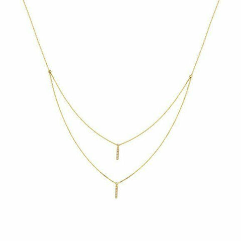 "14K Solid Yellow Gold Diamond Layer Double Strand Necklace 16""-18"" Adjustable"