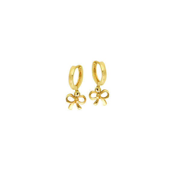 14K Solid Yellow Gold Baby Hoop Dangle Bow Earrings - Kid/ Children