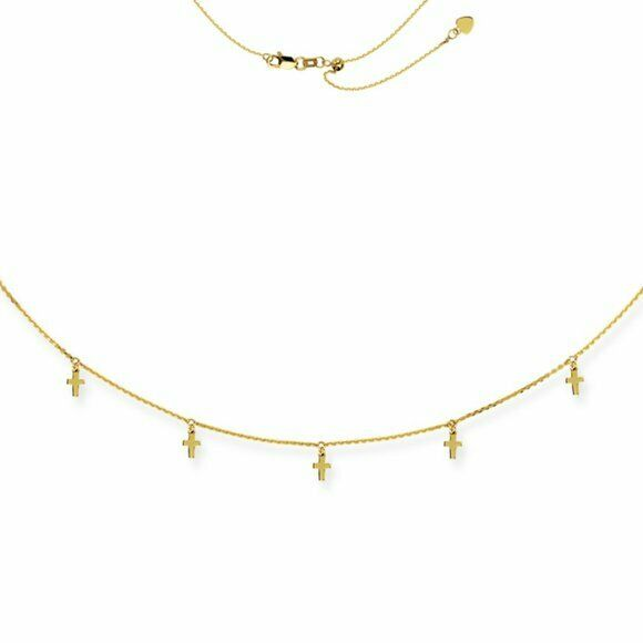 "14K Solid Gold 5 Dangle Mini Cross Choker Necklace Adjustable 16"" - Yellow"