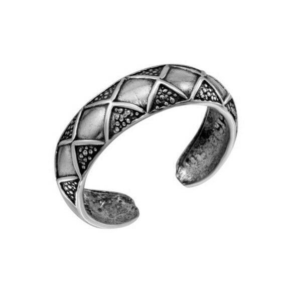 .Sterling Silver 925 Diamond Pattern Toe Finger Thumb Ring Adjustable Osidized