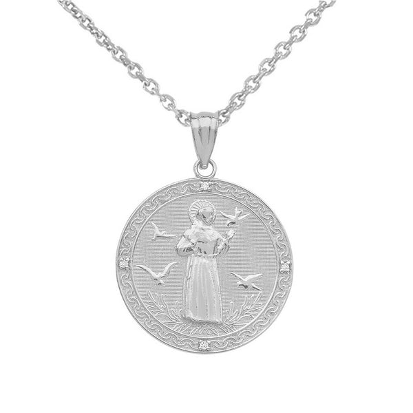 925 Sterling Silver Saint Francis of Assisi Circle Medallion Pendant Necklace